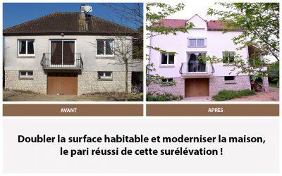 AVANT – APRES : Surélévation d'une maison à Château-Landon